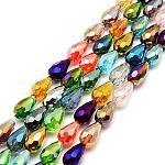 Faceted Drop Glass Beads Strands, Mixed Color, 15x10mm, Hole: 1mm; about 28pcs/strand, 16