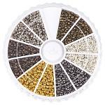 Rondelle bronce engarzado cuentas, cuentas de tope de tubo, joya que hace fuentes, color mezclado, 2mm, agujero: 1.2 mm; aproximamente 3000 unidades / caja, 500 piezas / color