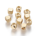 304 Stainless Steel Spacer Beads, Cube, Golden, 4x4x4mm, Hole: 2.5mm