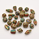 手作りチベット風ビーズ, 合成サンゴとターコイズの真鍮, アンティーク黄金, 8~25x8~13mm, 穴:1~1.5mm