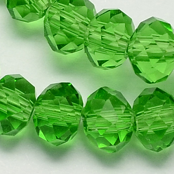 Lime Green Handmade Glass Beads, Faceted Rondelle, Lime Green, 6x4mm, Hole: 1mm; about 90~93pcs/strand