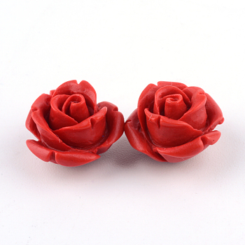 Киноварь бисера, роза, огнеупорный кирпич, 10x10x8 мм, отверстие : 1.5 мм