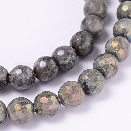 Electroplate Natural Labradorite Round Bead StrandsG-L377-36-6mm-1