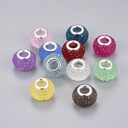 Abalorios europeos diamante de imitación de la resinaRPDL-L004-M-1