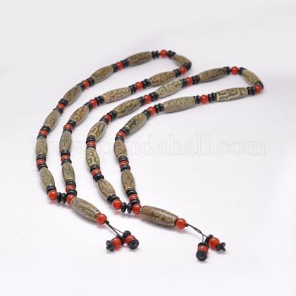 Joyería budista natural ágata tibetana rebordeada collaresNJEW-F131-20-1