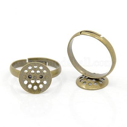 DIY Antique Bronze Adjustable Brass Sieve Ring BasesX-EC163-3NFAB-1