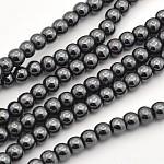 非磁性合成ヘマタイトビーズ連売り, ラウンド, 4mm, 穴:1mm、約102個/連