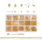 Metal Jewelry Findings Kits, with Iron Head /Eye Pins, Folding Crimp Ends, Bead Tips Knot Covers/Ribbon Ends/Twist Chain Extensions, Alloy Lobster Claw Clasps, Brass Chains and Earring Hooks, Golden, 6~22x1~7mm