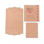 Cajas de papel kraft y tarjetas de exhibición de joyas de aretes, cajas de embalaje, con patrón de palabras y flores, burlywood, tamaño de caja plegada: 7.3x5.4x1.2 cm; tarjeta de pantalla: 6.5x5x0.05 cm