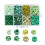 1 Box Mixed 6/0 Glass Seed Beads Round  Loose Spacer Beads, Green, 4mm, Hole: 1mm; about 1900pcs/box