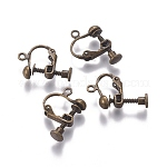 Rack Plated Brass Screw Clip-on Earring Findings, Antique Bronze, 13x17x4.5mm, Hole: 1.6mm