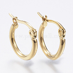 304 Stainless Steel Hoop Earrings, Hypoallergenic Earrings, Ring Shape, Golden, 12 Gauge, 15x2mm; Pin: 1x0.7mm