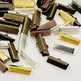 Embouts de sertissage de ruban de fer mélangé, couleur mixte, 16x8mm, Trou: 1mm