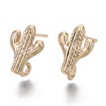 Brass Stud Earring Findings, with Loop and 925 Sterling Silver Pins, Nickel Free, Cactus, Real 18K Gold Plated, 12.5x9mm, Hole: 1.6mm, Pin: 1mm
