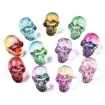 K9 стеклянные украшения дисплея, череп, для Хэллоуина, разнообразные, разноцветные, 22x18x26 мм