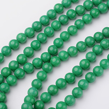 Chapelets de perles en jade Mashan naturel, ronde, teinte, moyen springgreen, 8mm, trou: 1mm; environ 48 pcs/chapelet, 16
