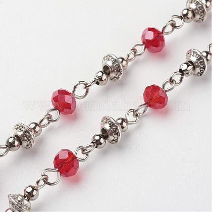 Handmade Electroplate Glass Beaded ChainsAJEW-JB00264-05-1