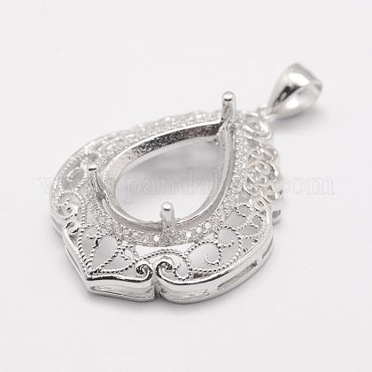 925 Sterling Silver Pendant Claw Cabochon Settings STER-K034-07-1