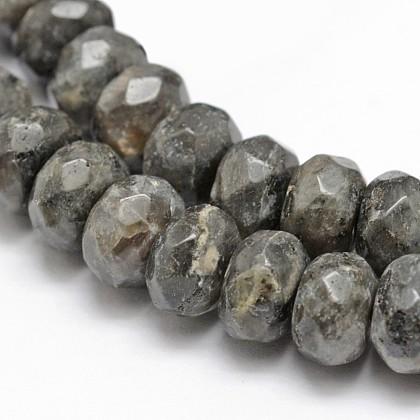 Faceted Natural Labradorite Rondelle Beads StrandsX-G-K090-02-1