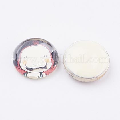 Плоско-круглые кабошоны из стекла  GGLA-22D-1-1