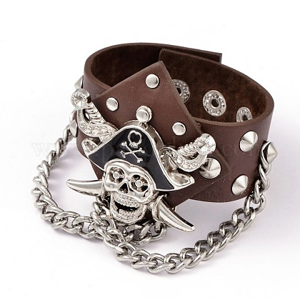 Nautical Skull with Crossbone Studded & Rivet Leather Cord Bracelets BJEW-D351-11A-1