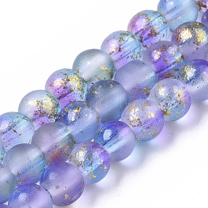 Brins de perles de verre peintes à la bombe givréeGLAA-N035-03A-C05-1