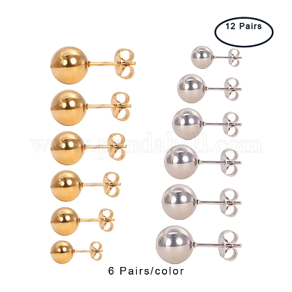 Mixed Size 2~8mm 316 Stainless Steel Ball Stud Earrings SetsEJEW-PH0001-01M-1