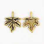 Tibetan Style Alloy Pendants, Lead Free and Cadmium Free, Maple Leaf, Antique Golden, Maple Leaf, 14mm wide, 17mm long, hole: 1.5mm