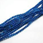 Cuentas de ágata natural hebras, teñido, redondo, azul marino, 6mm, agujero: 1 mm; aproximamente 62 unidades / cadena, 14.8