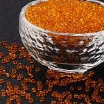 Abalorios de la semilla de cristal, transparente, redondo, naranja oscuro, 12/0; 2 mm, agujero: 1 mm; aproximadamente 30000 abalorios / libra