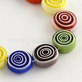 Planos hechos a mano reronda abalorios de vidrio millefiori hebras, color mezclado, 12x5mm, agujero: 1 mm; aproximamente 32 unidades / cadena, 14.1