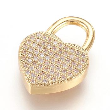 Brass Micro Pave Cubic Zirconia Pendants, Real 18K Gold Plated, Heart Padlock, Golden, 20x14x3.5mm, Hole: 6x6.5mm