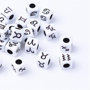 Handwerk Acryl europäischen Perlen, großes Loch Würfel Perlen, mit Sternbild / Sternzeichen, Schwarz, 7x7x7 mm, Bohrung: 4 mm; ca. 1800 Stk. / 500 g