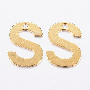 304 Stainless Steel Charms, Letter, Initial Charms, Letter.S, 11x6~12x0.8mm, Hole: 1mm