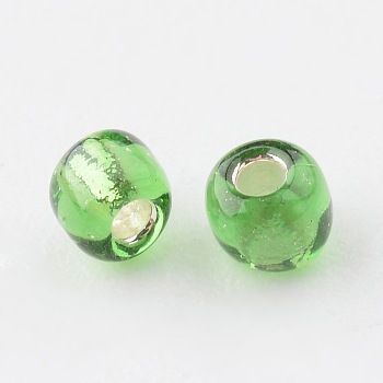 Green 8/0 Glass Seed Beads, Silver Lined Round Hole, Round, Green, 3mm, Hole: 1mm; about 10000 beads/pound