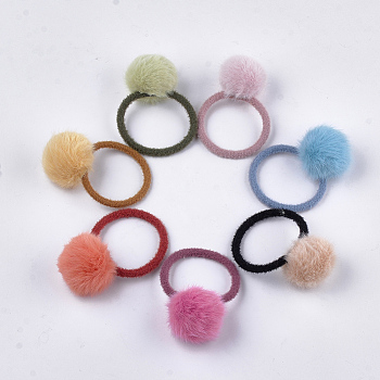 Imitation Wool Girls Hair Accessories, Ponytail Holder, Elastic Hair Ties, with Faux Mink Fur Ball, Mixed Color, 45~48mm