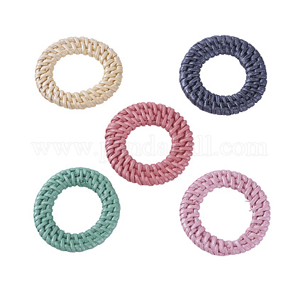 Handmade Spray Painted Reed Cane/Rattan Woven Linking Rings WOVE-X0001-13-1