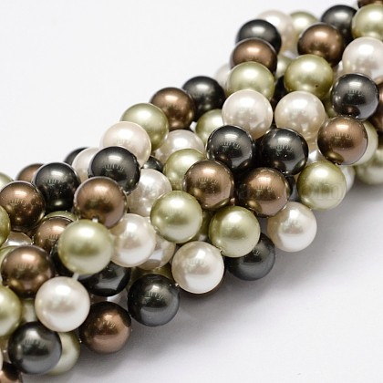 Hilos de perlas de concha pulidaBSHE-F013-07D-1