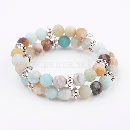 Frosted Natural Amazonite Beads Wrap BraceletsBJEW-JB03299-04-1