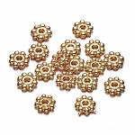 Flower Alloy Spacer Beads, Metal Findings for Jewelry Making Supplies, Golden, 5x1.5mm, Hole: 1mm
