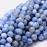 Chapelets de perles rondes à facettes en agate naturelle teintée, cornflowerblue, 10mm, trou: 1mm; environ 38 pcs/chapelet, 14.5