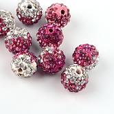 Abalorios de la bola de polímero coloreado a mano disco de la arcilla de dos tonos, con rhinestone de cristal, fucsia, 9~10mm, agujero: 2 mm