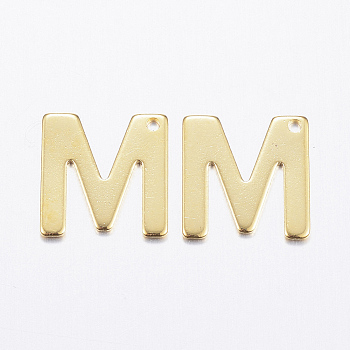 304 charms in acciaio inox, letter.m, oro, 11x10.5x0.8mm, Foro: 1 mm