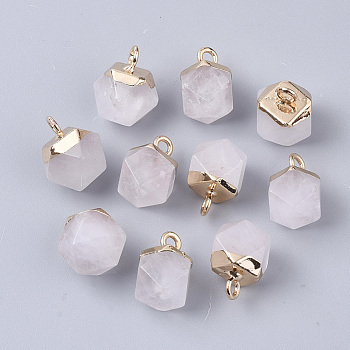 Natural Quartz Crystal Charms, with Top Golden Plated Iron Loops, Star Cut Round Beads, 12x10x10mm, Hole: 1.8mm