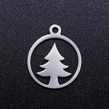 Colgantes huecos de 201 acero inoxidable, anillo con árbol de navidad, color acero inoxidable, 15x13x1mm, agujero: 1.5 mm