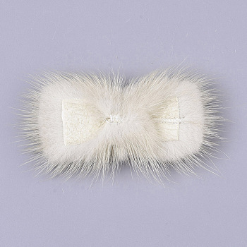 PapayaWhip Faux Mink Fur Rectangle Decoration, Pom Pom Ball, for DIY Bowknot Hair Accessories Craft, PapayaWhip, 8~8.5x3.7~4cm; about 21pcs/board