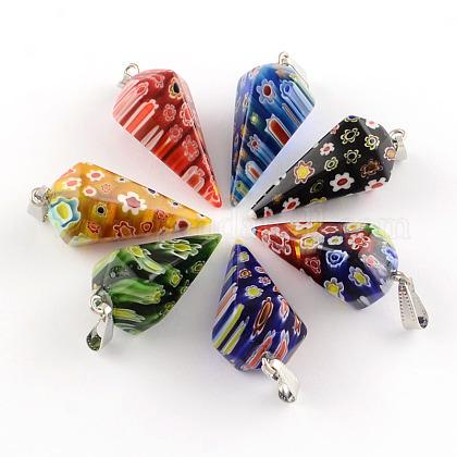 コーン手作りのミッレフィオーリガラスペンダントLK-R010-M1-1