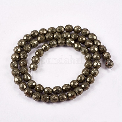 Natural Pyrite Round Beads Strands G-L031-6mm-02-1