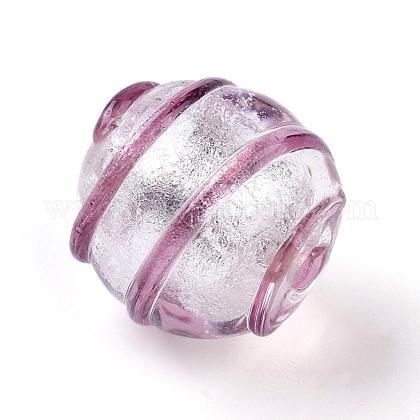 手作りの銀箔ガラスランプワークビーズFOIL-G027-01-1