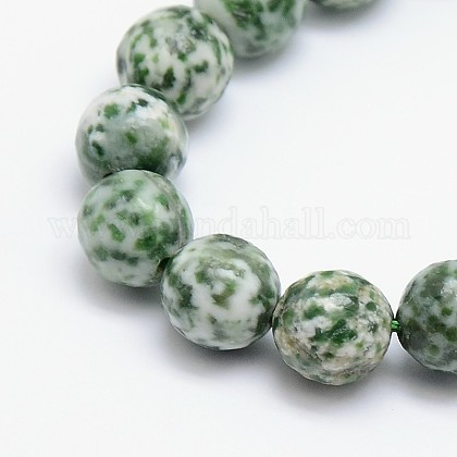 Chapelets de perles en jaspe à pois verts naturelsG-L148-4mm-01-1